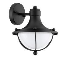 95976 Уличный настенный светильник MONASTERIO, 1х60W (E27), H265, гальв. сталь, черн/сатин. стекло