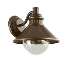 Уличный светильник настенный ALBACETE, 1х60W(E27), L265, H255, гальван. сталь, коричн., медь/стекло с каплями, прозрачный