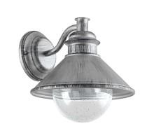 Уличный светильник настенный ALBACETE, 1х60W(E27), L265, H255, гальван. сталь, cостарен. серебряный/стекло с каплями, прозрачный