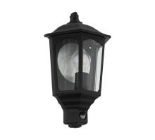 Уличный светильник настенный MANERBIO с датч. дв-я, 1х60W(E27), L240, H295, лит. алюминий, черный/cтекло, прозрачный