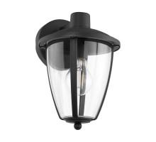 Уличный светильник настенный COMMUNERO 2, 1х60W(E27), H275, L175, лит. алюминий, черный/пластик, прозрачный