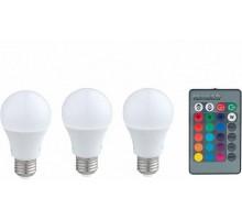 Лампа светодиодная диммируемая RGB с пультом упр-я A60, 3х7,5W (E27), 3000K, 470lm, 3 шт. в комплекте
