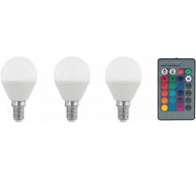 Лампа светодиодная диммируемая RGB с пультом упр-я P45, 3х4W (E14), 3000K, 300lm, 3 шт. в комплекте